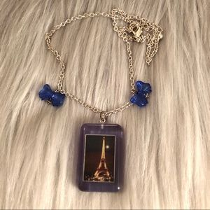 💙 City of Light Paris Bow Resin Necklace